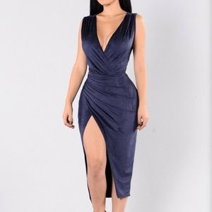 Navy blue suede like high slit dress